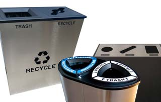Recycled Plastic Lumber Recycling Bins & Stations